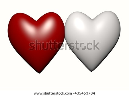 white and red heart isolated on white background, red heart-shaped. Hearts 3D rendering.Two Heart Shape,Valentine's Day and Love Symbol. Couple of  Heart Isolated on White Background  - stock photo