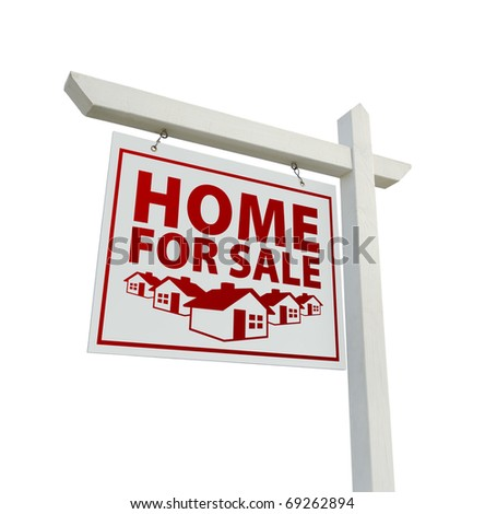 White and Red Home for Sale Real Real Estate Sign Isolated on a White Background.