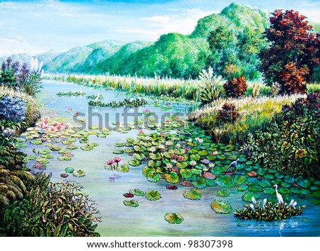 White and Red lotus in the river of oil painting - stock photo