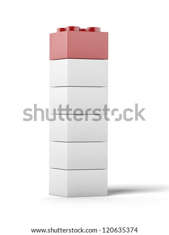 White and red plastic toy blocks. - stock photo