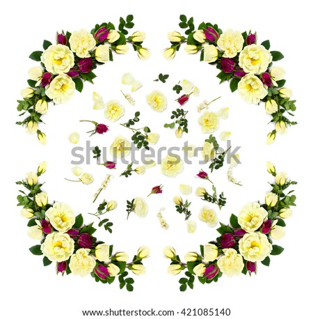 White and red roses (Burnet double white, shrub rose) and lily of the valley on a white background - stock photo