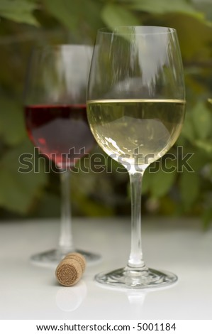 white and red wine in glass outside close up shoot