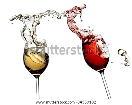 White and red wine splash together - stock photo