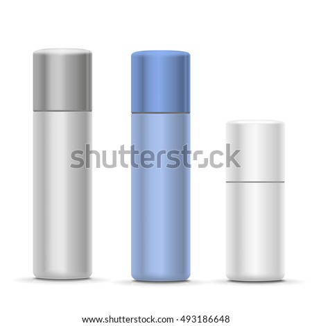 White Silver Bottles Aerosol Spray Metal Stock Vector