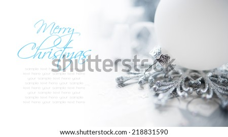 White and silver christmas decoration on holiday background. Merry xmas! - stock photo