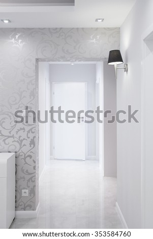 White and silver corridor in luxury residence