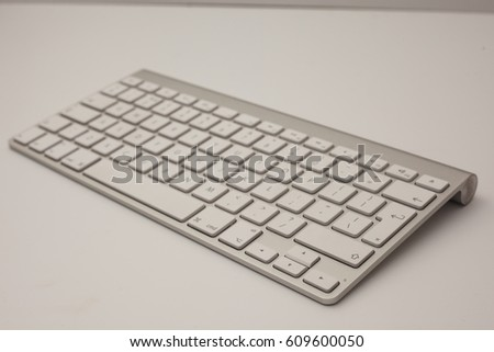 White and silver keyboard on white background