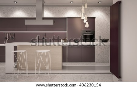 White and Violet Colors Contemporary Kitchen with Bar Counter top 3D rendering Camera  2 Evening - stock photo