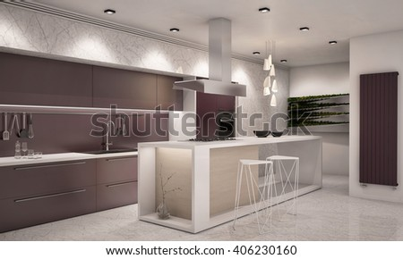 White and Violet Colors Contemporary Kitchen with Bar Counter top 3D rendering Camera 1 Evening - stock photo