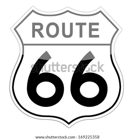 White and white Route 66 Road Sign isolated on white background. - stock photo