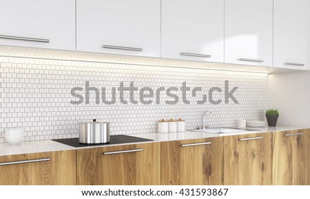 White and wooden kitchen interior with cooking pan on stove, plant and other decorative items. Side view, 3D Rendering