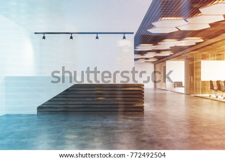 White and wooden reception counter standing in an office lobby with white and wooden walls and a concrete floor. 3d rendering mock up toned image double exposure
