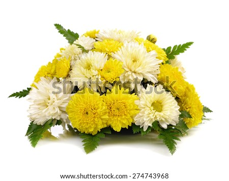 white and yellow flower arrangement isolated on white - stock photo