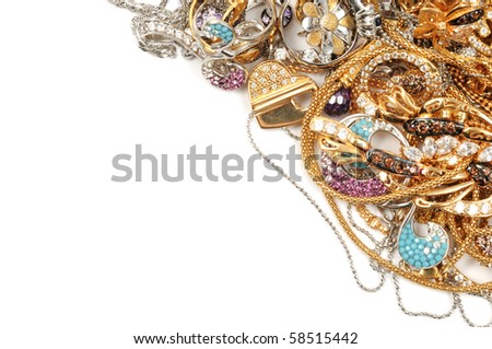 White and yellow gold jewelry background - stock photo