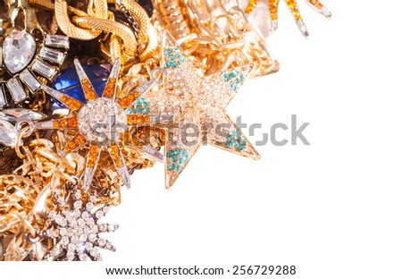 White and yellow gold jewelry background with copy space - stock photo