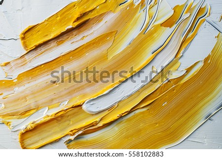 white and yellow oil paint brush strokes texture background