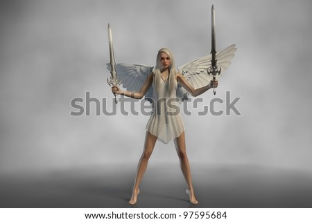 white angel with swords