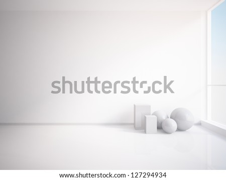 white architectural composition - stock photo