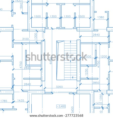 White architectural plan in unique style - stock photo