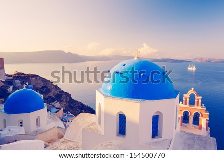 White Architecture and Blue Ocean, Santorini Island, Greece, Sunrise