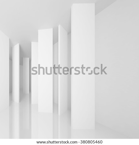 White Architecture Background. Abstract Gallery Interior - stock photo