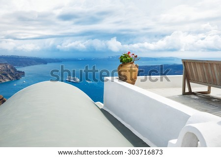 White architecture on Santorini island, Greece. Beautiful landscape with sea view. Selective focus