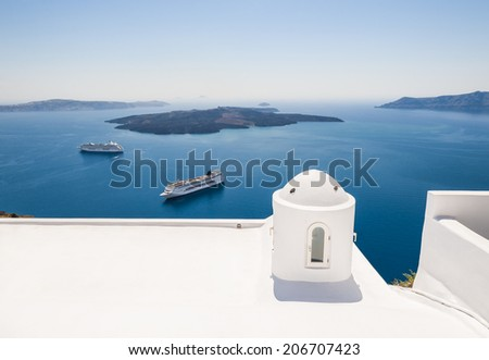 White architecture on Santorini island, Greece. Beautiful view on the sea