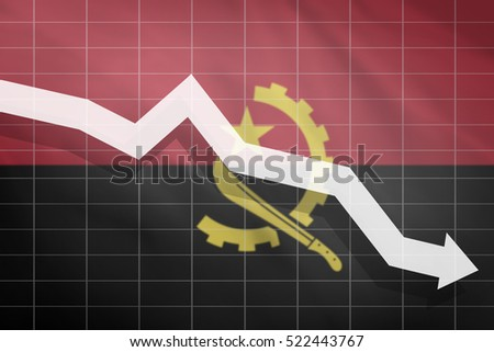 White arrow fall down on the background of the flag Angola