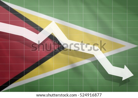 White arrow fall down on the background of the flag Guyana