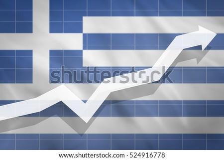White arrow growth up on the background of the flag Greece