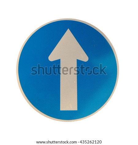 White arrow on blue traffic sign on white background, Traffic Sign - stock photo