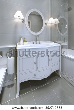 White art deco styled sink console stock illustration 352712333 white art deco styled sink console in bathroom round mirror with sconces on both sides aloadofball Image collections