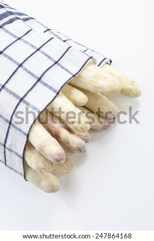 White asparagus wrapped in cloth on white background - stock photo