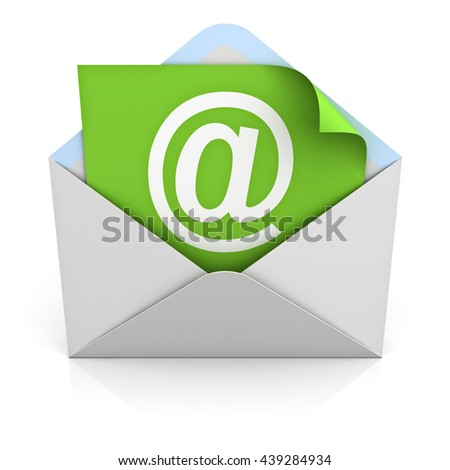 White at sign mail on green paper in envelope E mail concept isolated on white background with reflection. 3D rendering.