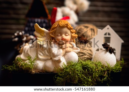 White baby angel Christmas decorations
