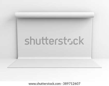White Backdrop Wall Abstract Studio Background. 3d Render Illustration