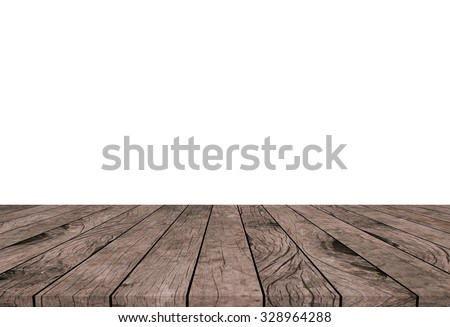 white backdrop wall with old vintage grungy beige brown wood backgrounds textures tabletop:grunge aged tiles wooden paving with empty backgrounds.put and show your products on this display. - stock photo