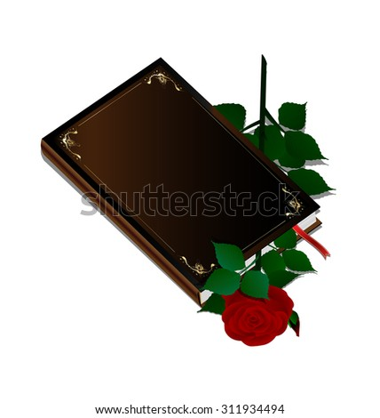 white background and dark book with rose inside - stock photo