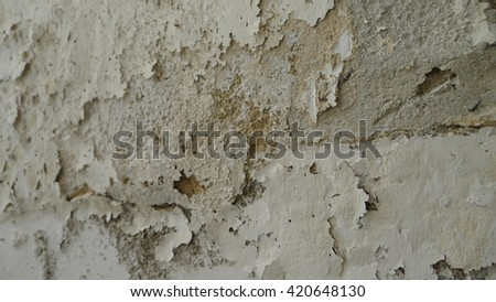 White background. Old paint cracked. Scratched background. Background in grunge style. - stock photo