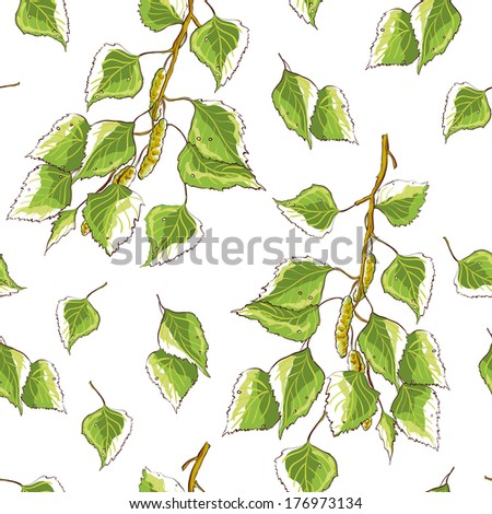 White background texture with birch leaves and branch - stock photo