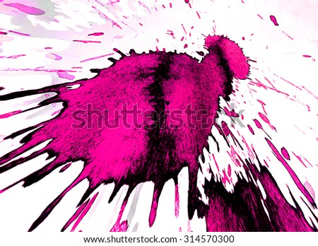 White background with a big color blot - stock photo