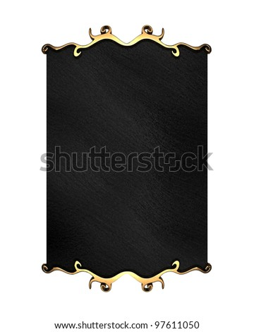 White Background with Black plate and gold trim