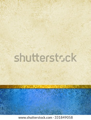 white background with blue footer stripe and gold ribbon trim, vintage texture and copyspace, elegant formal background layout - stock photo