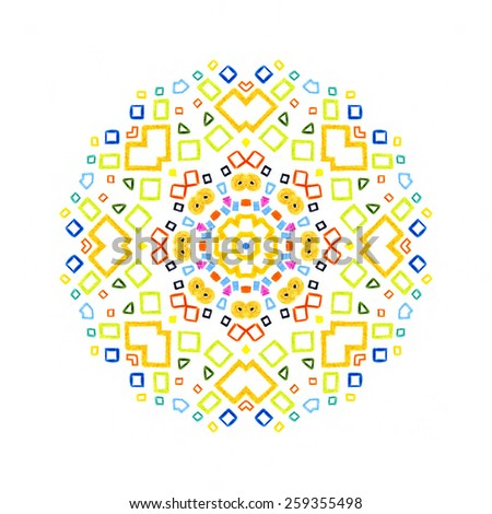 White background with color concentric pattern shape - stock photo
