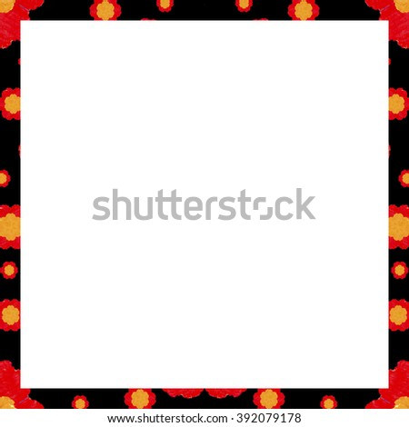White background with decorated floral pattern design border.