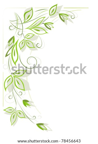 White background with green floral pattern - stock photo