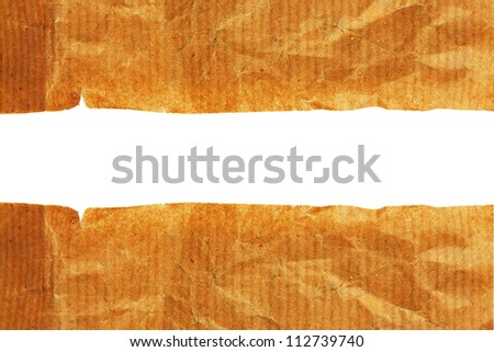White background with old torn paper edge - stock photo