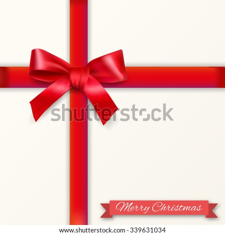 White background with red bow and ribons with shadow and christmas text. template for greeting and postal card. illustration - stock photo