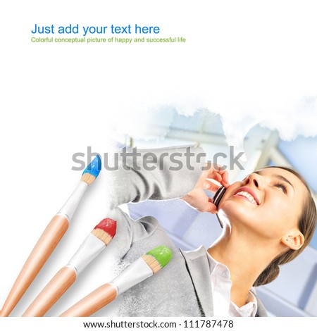 White background with three paintbrushes painting portrait of beautiful young business woman - stock photo
