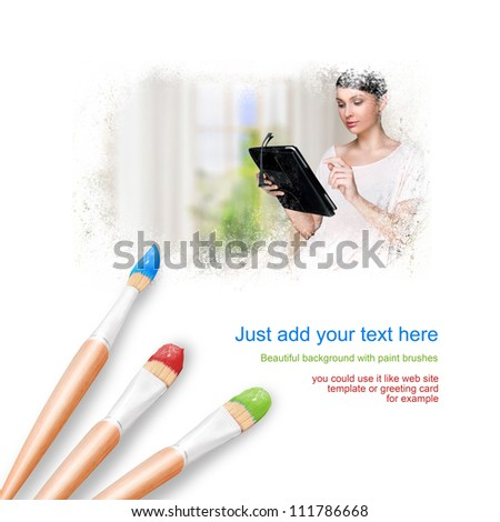 White background with three paintbrushes painting portrait of beautiful young woman at home - stock photo